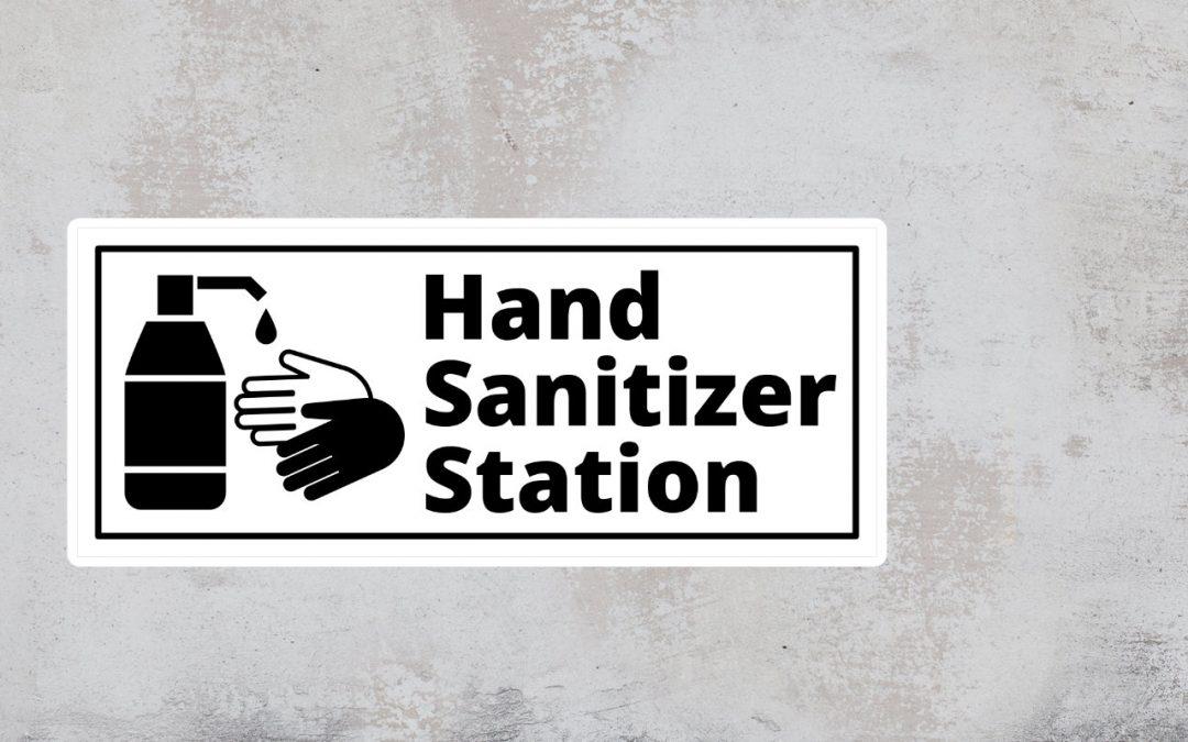 Hand sanitizer station sign - black and white