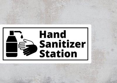 Hand Sanitizer Station Sign – Black and White Sticker – Rectangular