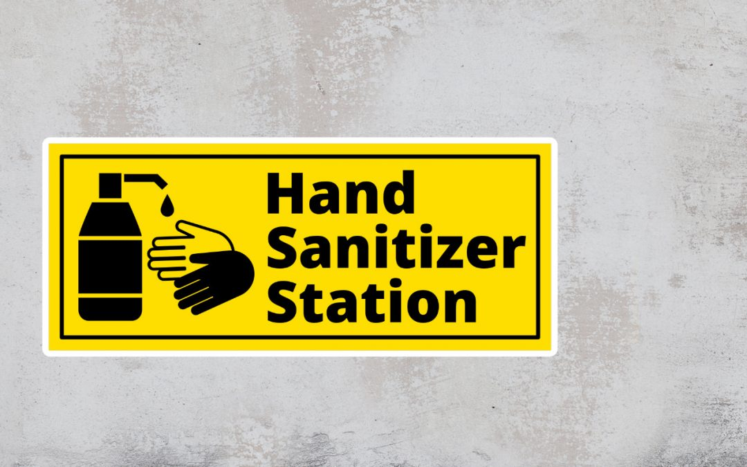 Hand sanitizer station sign - black and yellow