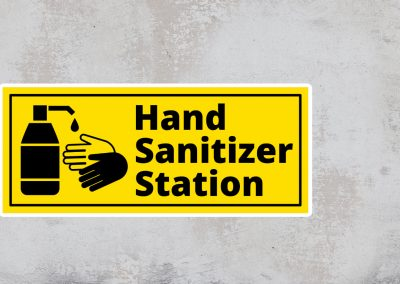 Hand Sanitizer Station Sign – Black and Yellow Sticker – Rectangular