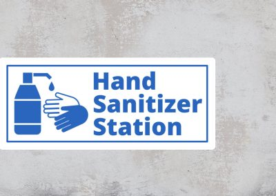 Hand Sanitizer Station Sign – Blue and White Sticker – Rectangular