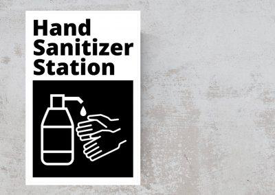 Hand Sanitizer Station Sticker – Black and White Sign