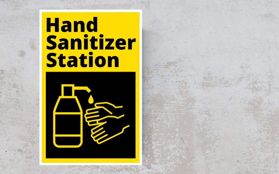 Hand sanitizer station sticker - color black and yellow