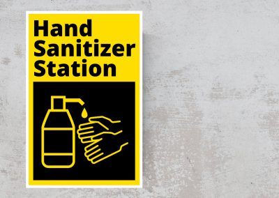 Hand Sanitizer Station Sticker – Black and Yellow Sign
