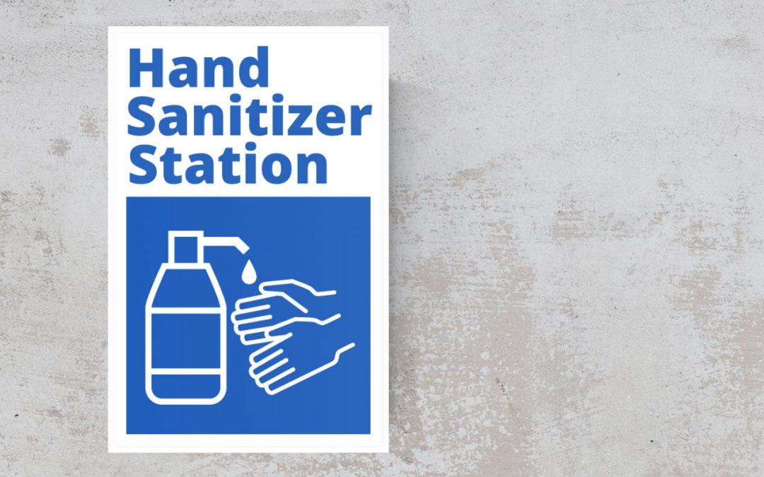Hand sanitizer station - blue and white sticker