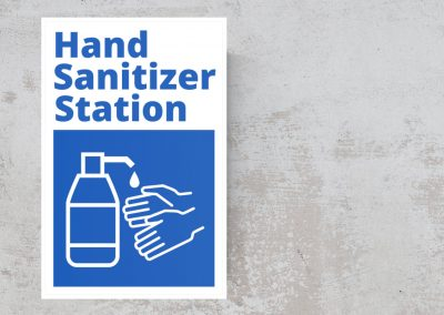 Hand Sanitizer Station Sign Sticker – Blue and White
