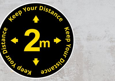 Rounded Social Distancing Sign – Keep Your Distance 2 m Sticker – Black and Yellow