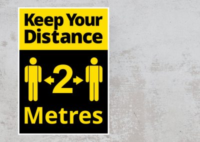 Social Distancing Sign – Keep Your Distance 2 Metres Sticker – Black and Yellow