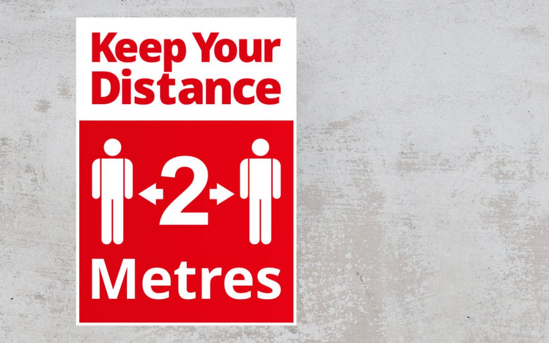 Social Distancing Sign - Keep Your Distance 2 Metres, Red and White Sticker