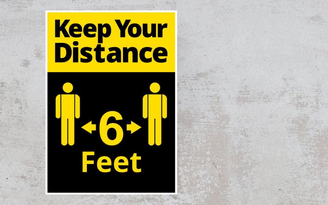 Keep your distance 6 feet - black and yellow sticker