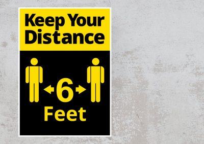Social Distancing Sign – Keep Your Distance 6 Feet Sticker – Black and Yellow