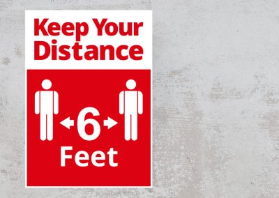 Social Distancing Sign – 6 feet – Red and White Sticker