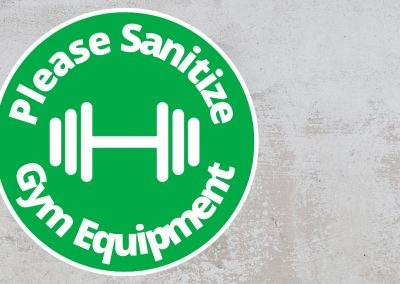 Please Sanitize Gym Equipment – Rounded Sign, Green and White Sticker