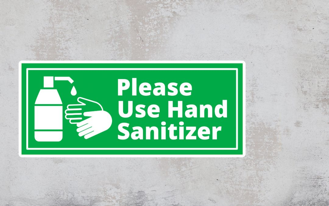 Sign - Please Use Hand Sanitizer - Green and White Sticker