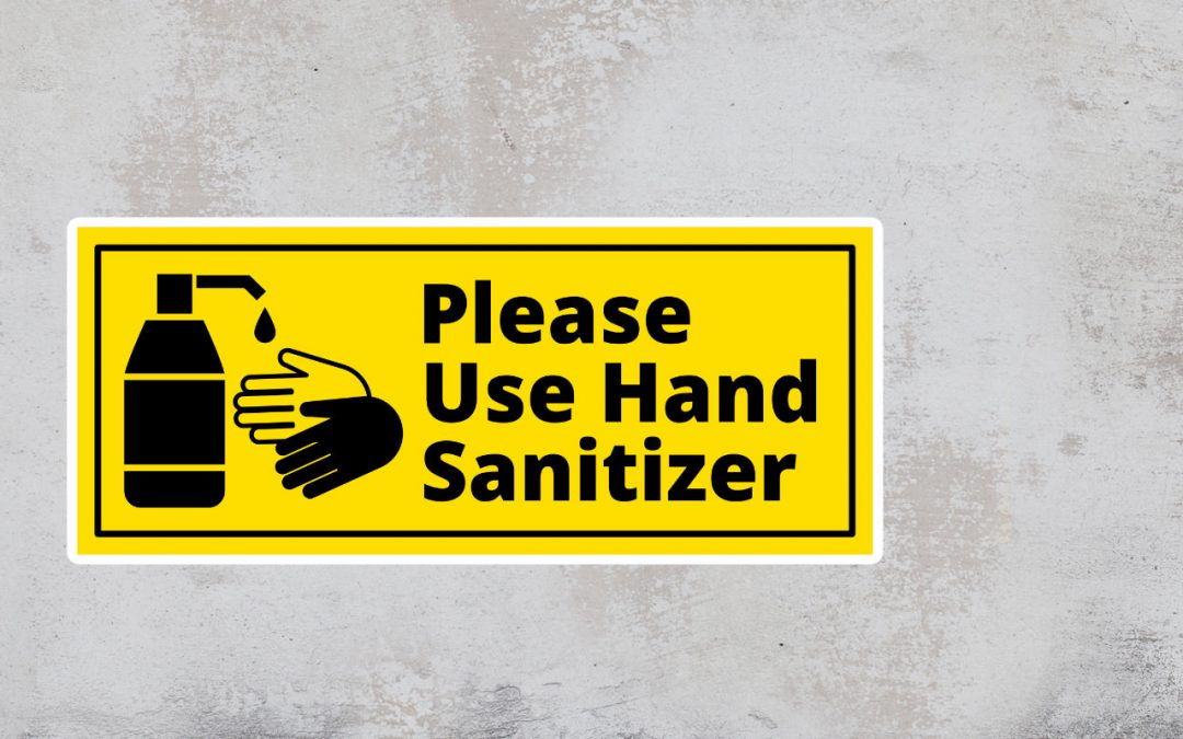 Sign Please Use Hand Sanitizer - Black and Yellow Sticker