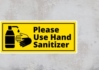 Sign Please Use Hand Sanitizer – Black and Yellow Sticker