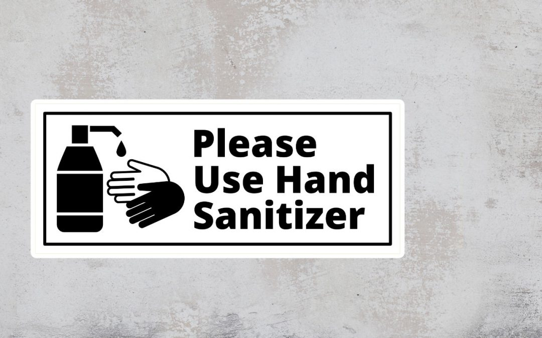 Sign Please Use Hand Sanitizer - black and white