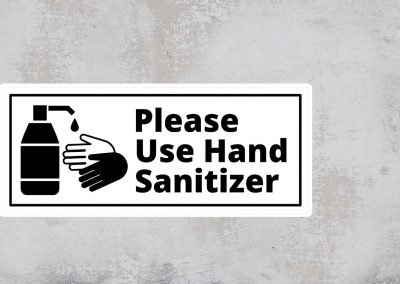 Sign Please Use Hand Sanitizer – Black and White Sticker