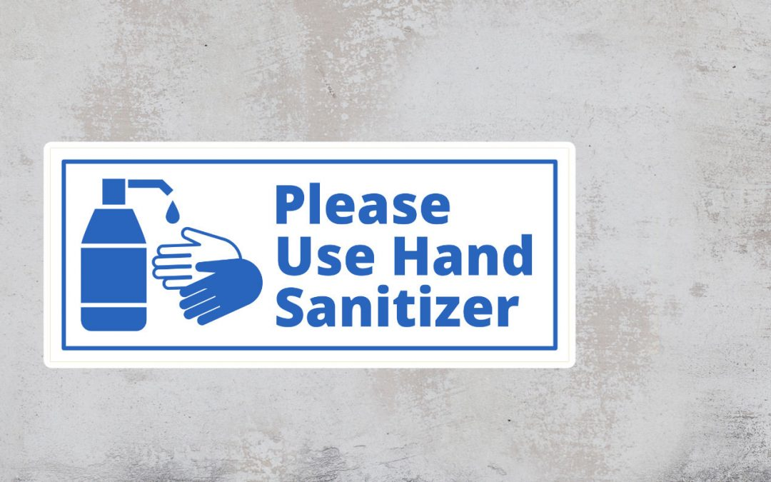 Sign Please Use Hand Sanitizer - blue and white