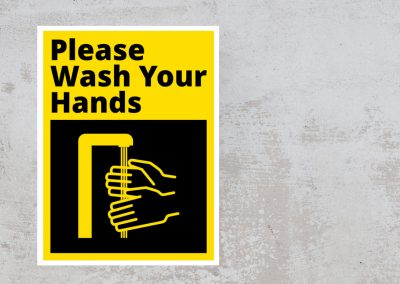 Please Wash Your Hands – Black and Yellow Sticker