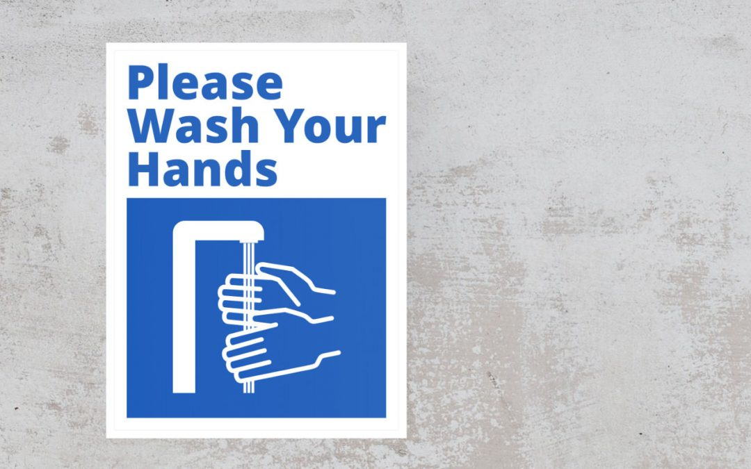 Sign Please Wash Your Hands - blue and white sticker
