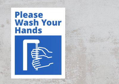Please Wash Your Hands – Blue and White Sticker
