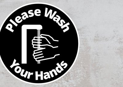 Please Wash Your Hand – Rounded Sign, Black and White Sticker
