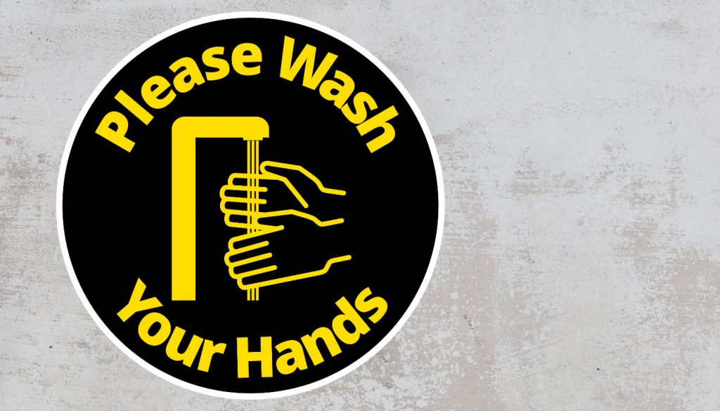 Please Wash Your Hand - Rounded Sign, Black and Yellow Sticker