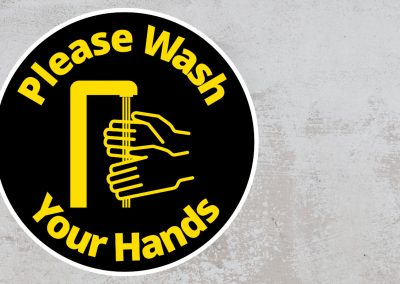 Please Wash Your Hand – Rounded Sign, Black and Yellow Sticker
