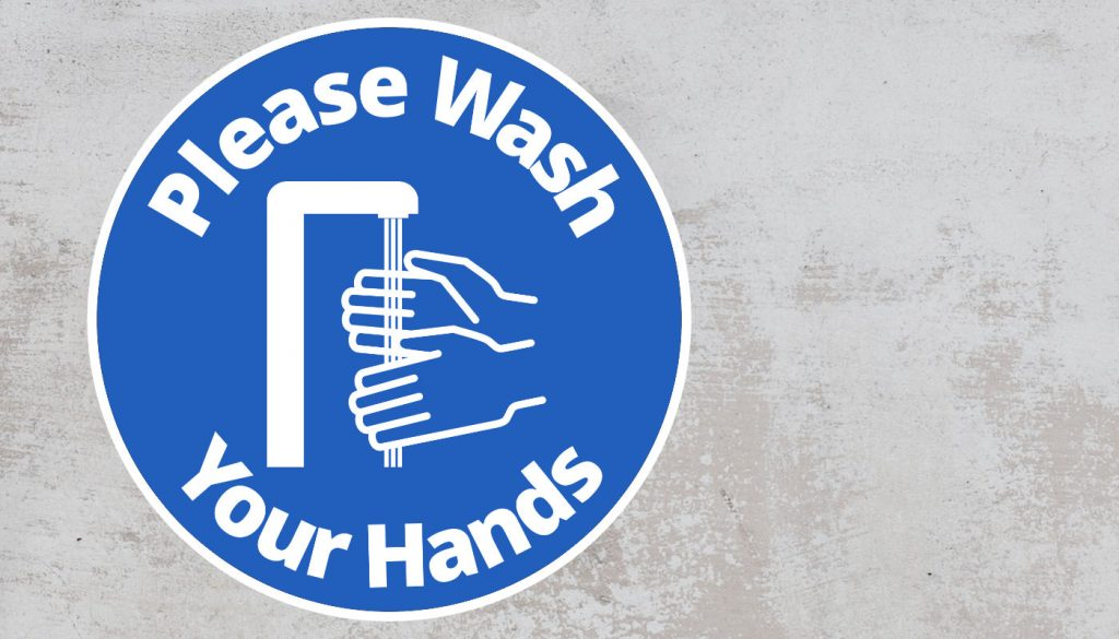 Please Wash Your Hand - Rounded Sign, Blue and White Sticker