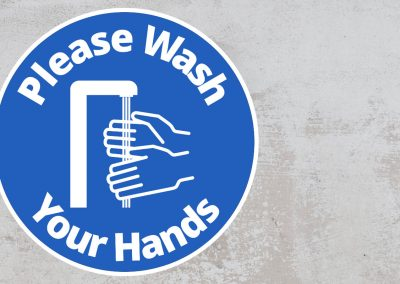 Please Wash Your Hand – Rounded Sign, Blue and White Sticker