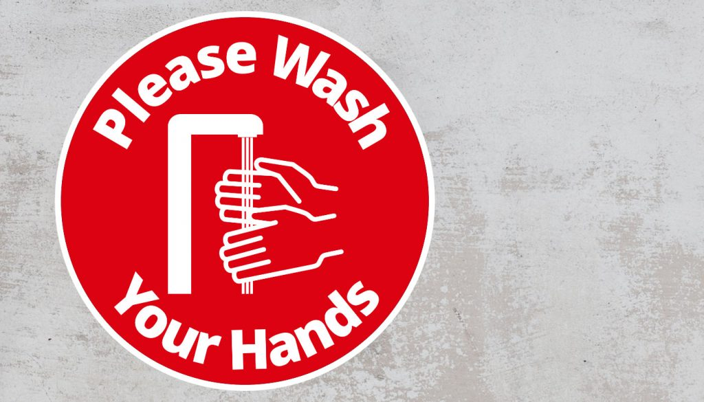 Please Wash Your Hand - Rounded Sign, Red and White Sticker