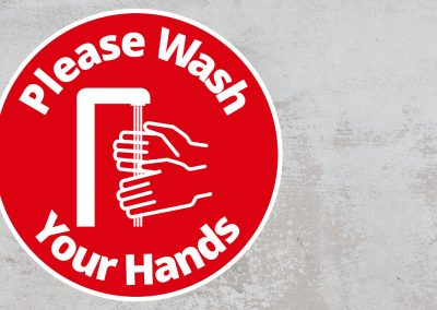 Please Wash Your Hand – Rounded Sign, Red and White Sticker