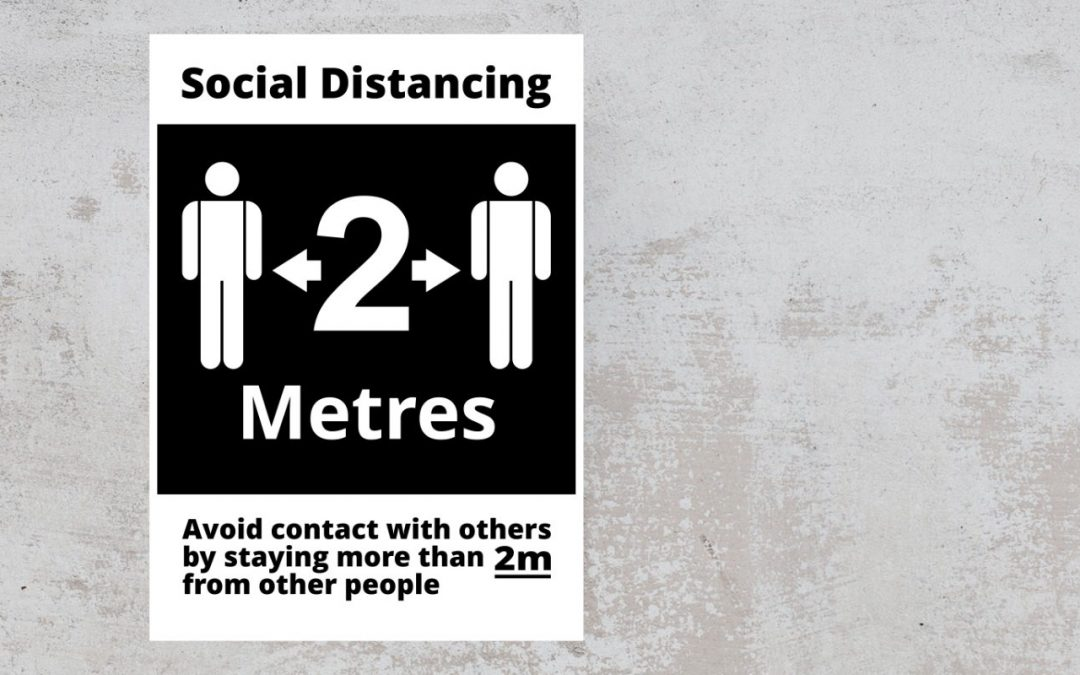 avoid contact with others by standing more than 2m from other people black white sticker