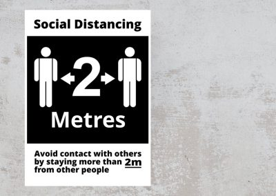 Social Distancing Sign – Keep Your Distance 2 Metres – Black and White Sticker